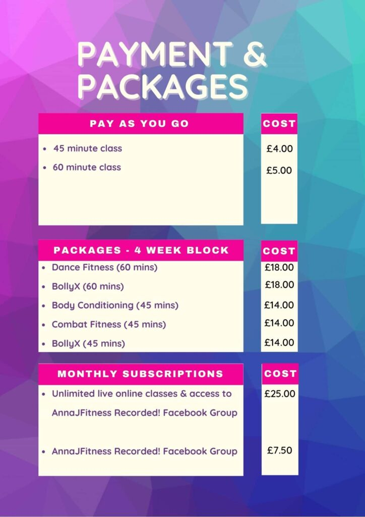 AnnaJFitness Payments and Packages