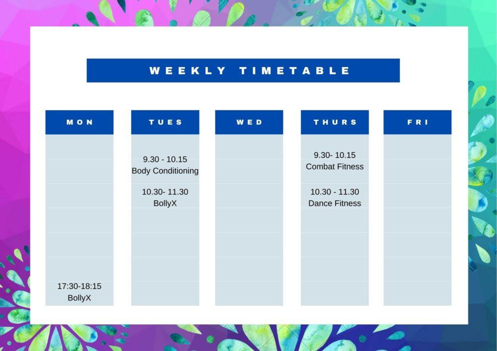 AnnaJFitness class Timetable