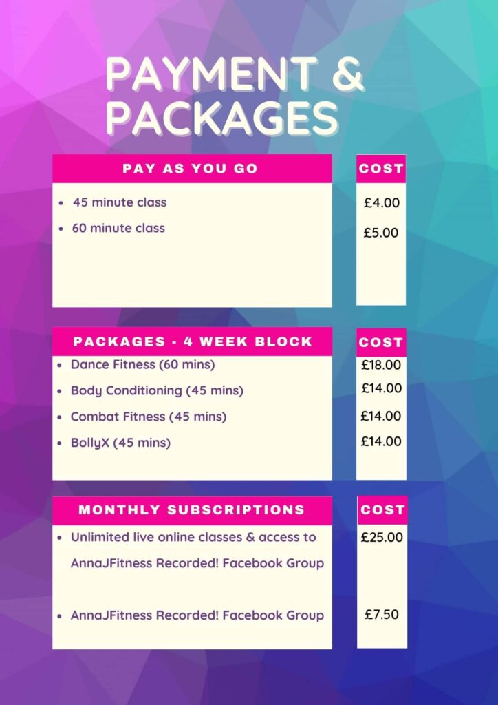 Payments and packages AnnaJFitness